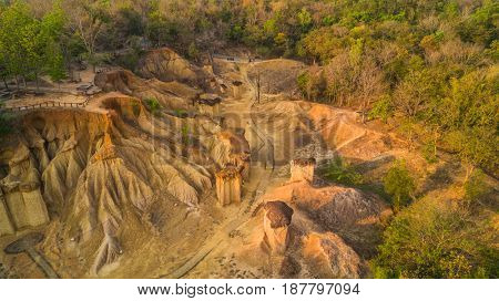 Aerial view of Pae Muang Pee sandstone erosion in Phrae province, Thailand