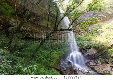 Motian waterfall in the subtropical forest of Sandiaoling park, Taipei province, Taiwan