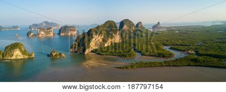 Panoramic aerial view of the Phang Nga bay with mangrove tree forest and hills in the Andaman sea, Thailand