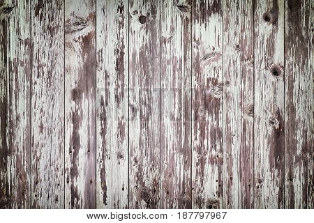 Rustic Old Weathered White Wood Plank Background With Vignette