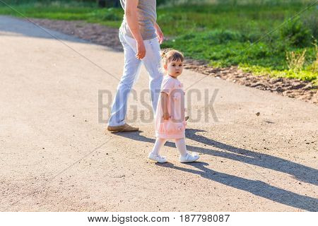 Father and baby spending time together outdoors
