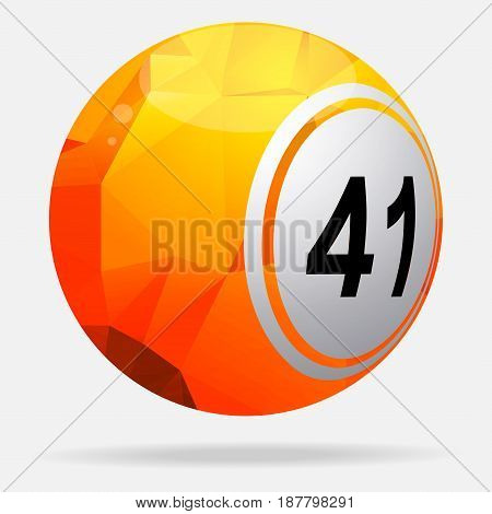 3D Illustration of Red and Yellow Bingo Lottery Ball with Geometric Design and Shadow Over White