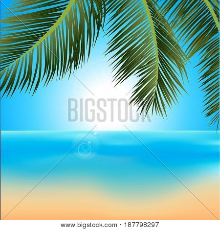 Illustration of Tropical Sunrise on the Beach with Palm Tree and Lens Flares
