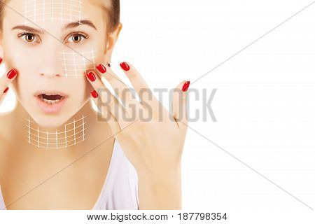 blond caucasian model portrait with surgery lines on face