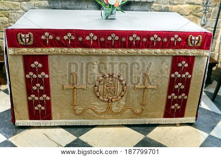 St Ives Cornwall UK - April 2 2017: Ornate traditional altar cloth in an English church