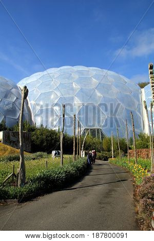 Bodelva, Cornwall, Uk - April 4 2017: Exterior Of The Biomes At The Eden Project Environmental Exhib