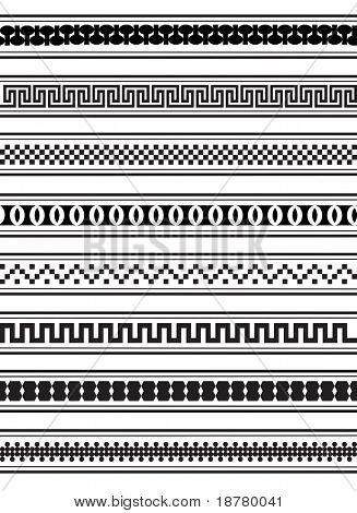 A vector illustration of geometric border patterns in black and white
