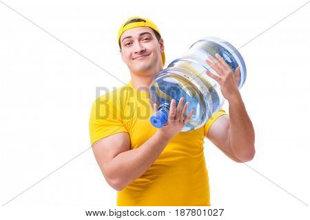 Man delivering water bottle isolated on white