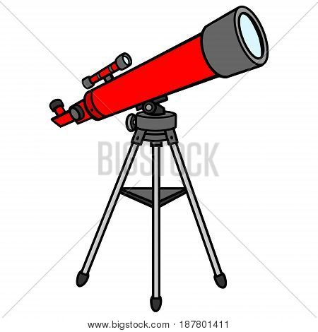 A vector illustration of a red Telescope.