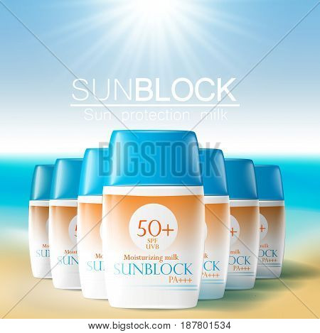 Sunblock ads template sun protection cosmetic products. 3D illustration for magazine or ads.Bottle products design with moisturizer milk cream or liquid.