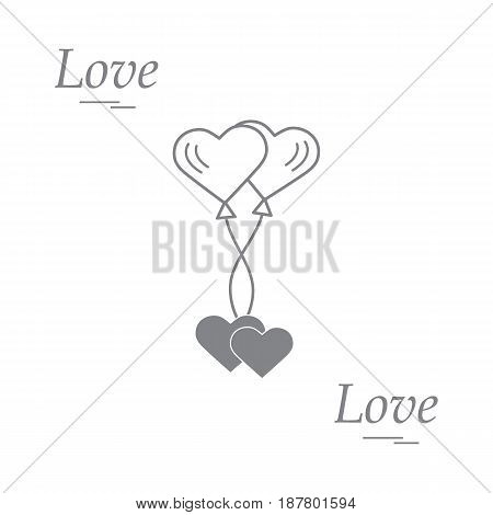 Cute Vector Illustration Of Love Symbols: Heart Air Balloons Icon And Two Hearts. Romantic Collectio