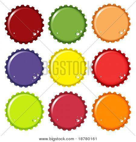 A vector illustration of metal bottle tops in various colours, with condensation water drops. Space for your text