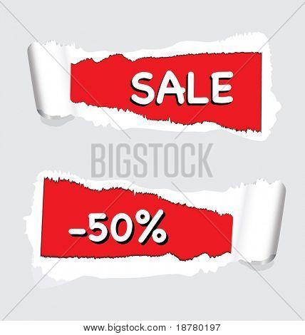 Déchiré le papier avec « vente » et « -50 %' pour utilisation dans les promotions du magasin. EPS10