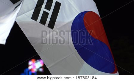 South Korean flag flapping at night