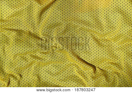 Sport Clothing Fabric Texture Background, Top View Of Yellow Cloth Textile Surface