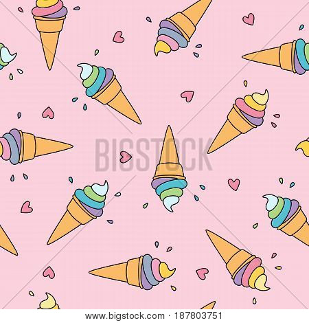 Pastel ice cream seamless pattern with cute hearts on pink background vector