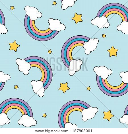 Pastel rainbow and stars seamless pattern on blue background with black outline vector