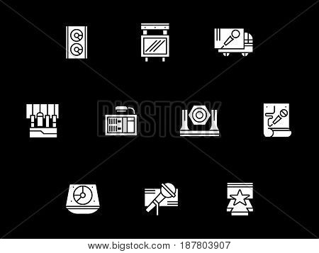 Collection of concert stage equipment. Organization of festival, entertainment events and show. Symbolic white glyph style vector icons set on black.