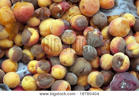 A background of discarded rotten fruit left for waste after a market. Peaches and apricots.