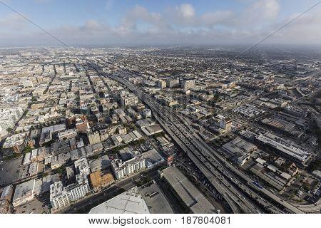 Los Angeles, California, USA - April 12, 2017:  Aerial view of the Santa Monica 10 Freeway near downtown LA.