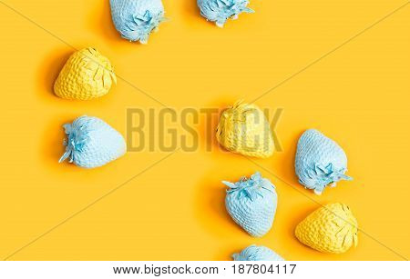 Blue And Yellow Painted Strawberries
