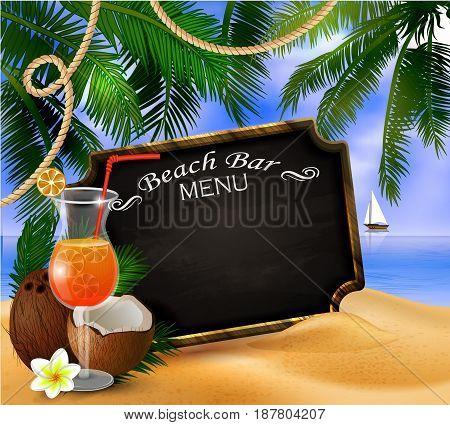 black board for beach bar menu on tropical background vector