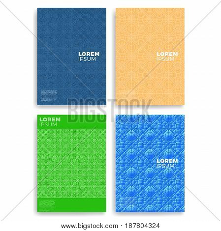 Set Of Abstract Cards With Layers Overlap. Applicable For Covers, Placards, Posters, Flyers And Bann
