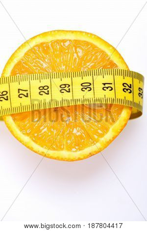 Measurement With Lemon Fruit Isolated On White
