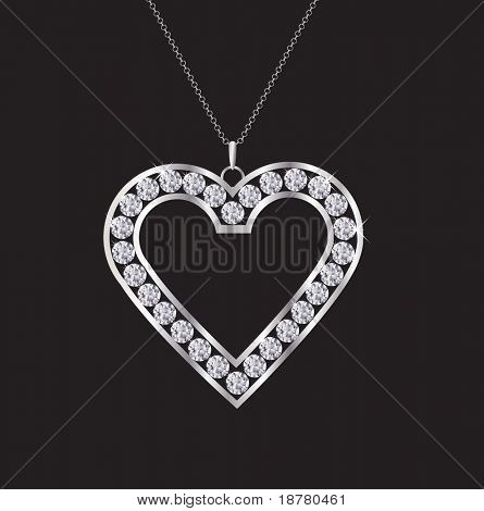 A diamond heart necklace isolated on black. EPS10 vector format.