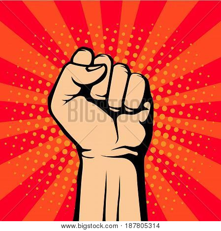 Pop art fist up, a symbol of protest. retro vector illustration