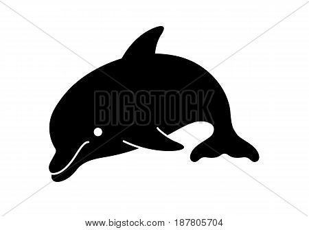 Dolphin Silhouette Cartoon. Vector Illustration Of A Cute Cartoon Dolphin Silhouette.