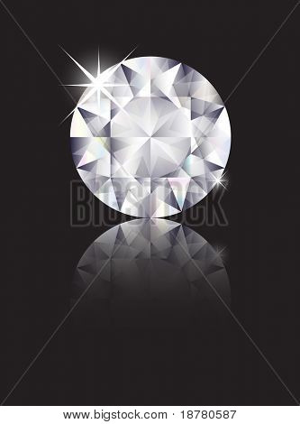 A brilliant cut diamond isolated on black with reflection. Space for text. Also available in vector format