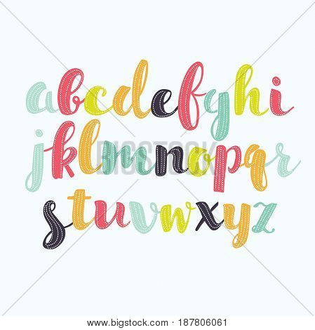 Vector set of Colorful alphabet handwritten. Lowercase letters with dotted decor abc alphabet letters.