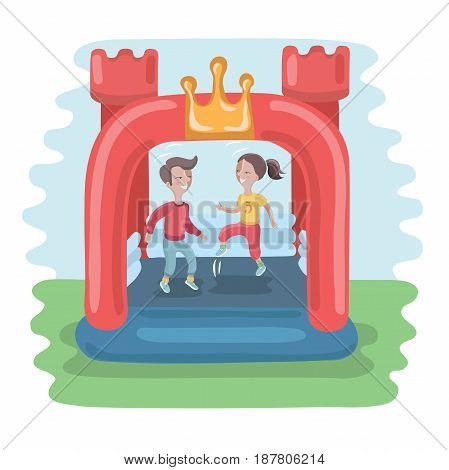 Vector illustration of kids jumping in colorful small air bouncer inflatable trampoline castle on the meadow