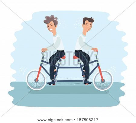 Vector illustratioon of two angry men riding on tandem bycicle on different direction. Graphic concept of controversy and conflict in team