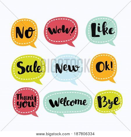 Various Vector Labels in like Useful Symbols in speech bubbe. Like, Ok, New, Wow, No, Like, Sale, Welcome, Thank You, Bye