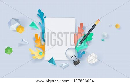 Creative concept banner. Vector illustration for creative brief, planning, copywriting, blog, forum, content marketing.