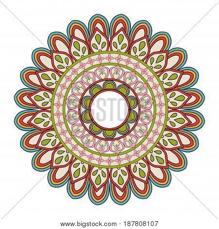 floral mandala color decoration bohemian vintage pattern vector illustration
