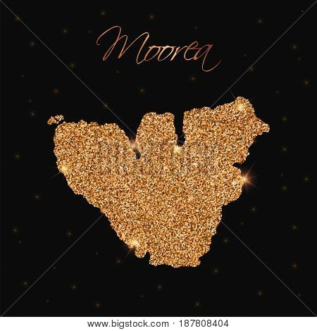 Moorea Map Filled With Golden Glitter. Luxurious Design Element, Vector Illustration.