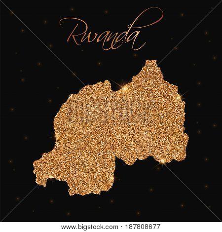 Rwanda Map Filled With Golden Glitter. Luxurious Design Element, Vector Illustration.