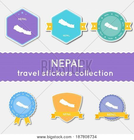Nepal Travel Stickers Collection. Big Set Of Stickers With Us State Map And Name. Flat Material Styl