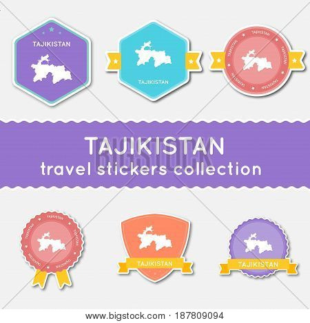Tajikistan Travel Stickers Collection. Big Set Of Stickers With Us State Map And Name. Flat Material