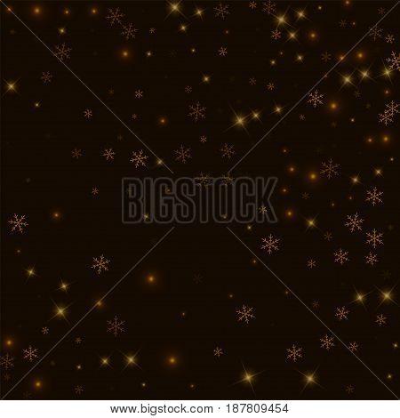 Sparse Starry Snow. Random Scatter On Black Background. Vector Illustration.