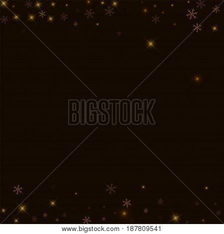 Sparse Starry Snow. Borders On Black Background. Vector Illustration.