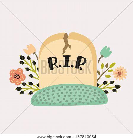Vector cartoon funny cute illustration of gravestone