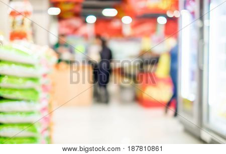 Blurred Background,product On Shelves In Supermarket With Bokeh Light
