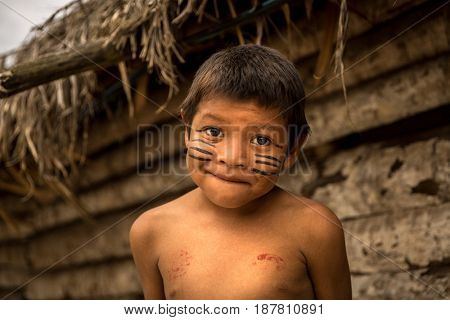 Native Brazilian Child from Tupi Guarani Tribe, Brazil
