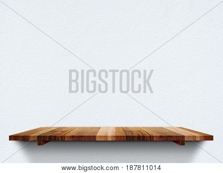 Empty Wooden Shelfs On Pastel Grunge Concrete Wall, Mock Up Template For Display Of Product