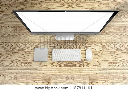 Top View Of Computer And Keyboard, Mouse With Blank Screen On Wooden Table, Mock Up Template For Add