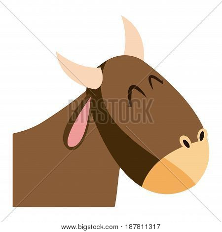 cute head ox manger character image vector illustration